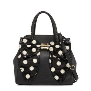 Betsey Johnson Bow Sequined Faux-Leather Satchel